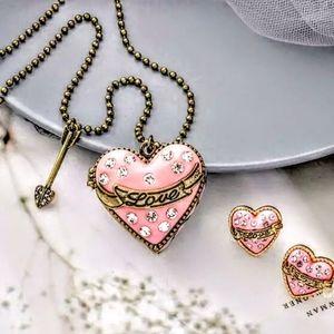 NWOT-Rhinestone,Locket Pink Heart Necklace/Earring